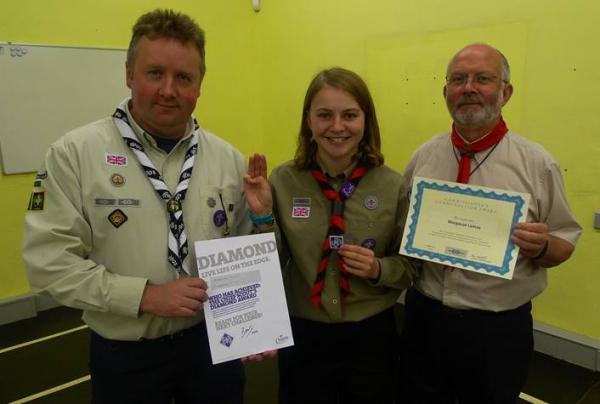 Chelmorton girl takes three awards in one from Derbyshire Scout Commissioner