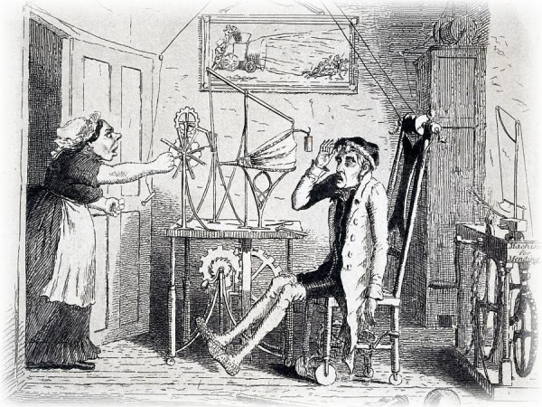 Discovering Perpetual Motion - an etching by Theodore Lane