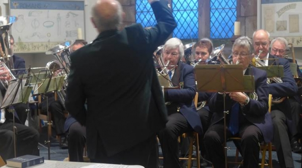 Hollinsclough Silver Band for St John the Baptist in Chelmorton for Sunday family carol service