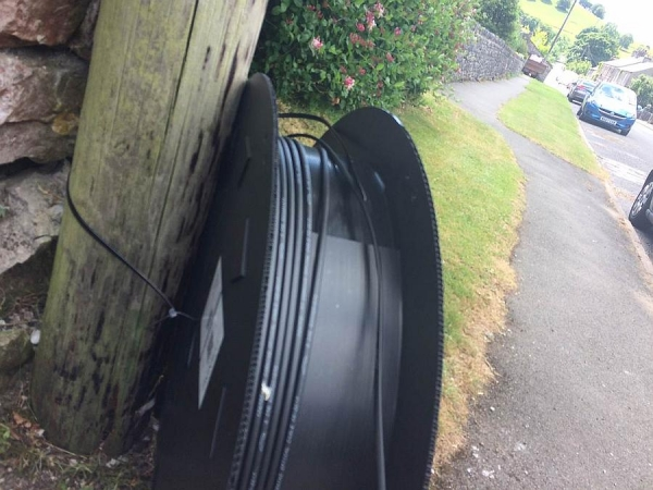 Fibre broadband cable arrives on smart black reels in Main Street late June 2018