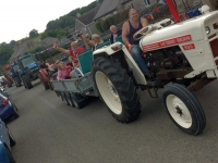 Tractor convoy in Main Street Chelmorton for Festival 2018