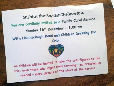 Christmas Carol service - Chelmorton Christmas dates for St Johns Church Main Street