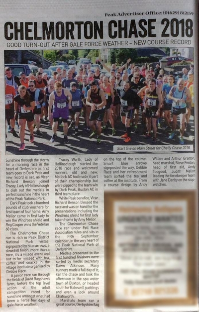 Peak Advertiser covers the 2018 Chelly Chase fell race